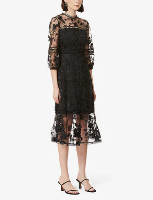Ted Baker Tabii floral-embroidered midi dress