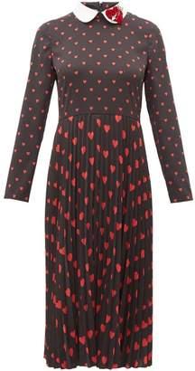 RED Valentino Heart-print Pleated Midi Dress - Womens - Black Multi