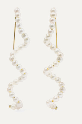 Poppy Finch Gold Pearl Earrings - Yellow