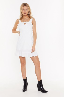 Nasty Gal Womens Tie Front Cotton Linen Shift Dress - white - 12