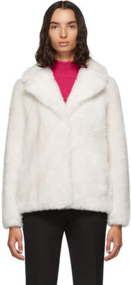Yves Salomon Meteo White Woven Wool Jacket