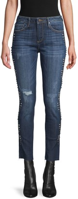 Driftwood Studded Mid-Rise Jeans