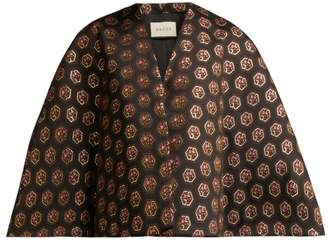 Gucci Floral And Logo-jacquard Cape - Womens - Black