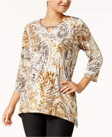 Alfred Dunner Deck The Halls Petite Printed Keyhole Top
