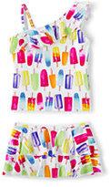 Classic Little Girls Skirted Tankini Swimsuit Set-Multi Chevron