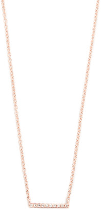 Ef Collection 14k Gold Diamond Mini Bar Necklace