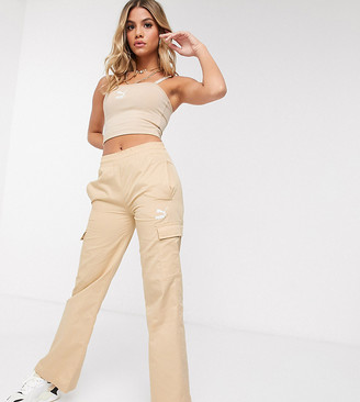 Puma cargo wide leg trousers in beige - exclusive to ASOS