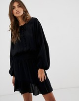Asos Design DESIGN mini dress with elasticated waist in crinkle