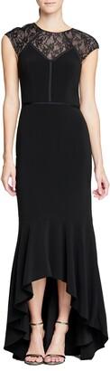 Halston Cap Sleeve High/Low Mermaid Gown
