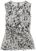 Dolce & Gabbana Sequined Tulle Top - Silver