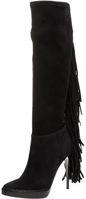 Burberry Black Suede Fringe Detail Caitlin Platform Knee High Boots Size 40