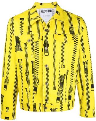 Moschino Zip-Print Button-Up Jacket