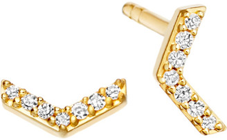 Astley Clarke Varro Honeycomb 14ct yellow gold and diamond stud earrings