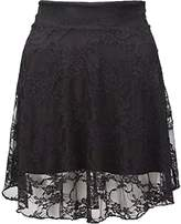 RIDDLED WITH STYLE Women Full Lace Stretchy Floral Skirt Ladies Flare Fancy Mini Short Dress Skirt#( Full Lace Floral Mini Skirt#US 14-16#Womens)