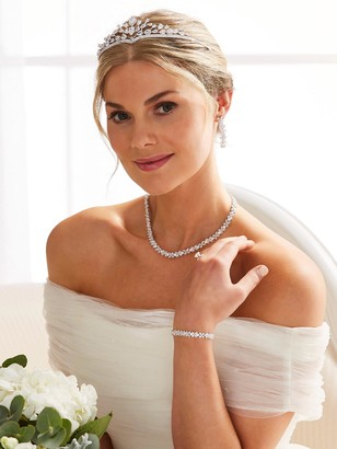 Jon Richard Bridal Cubic Zirconia Crystal Floral Tennis Drop Earrings