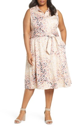 Nic+Zoe Morning Burst Sleeveless Tie Waist Midi Shirtdress