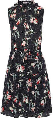 Rebecca Taylor Ruffle-trimmed Floral-print Silk Crepe De Chine Mini Dress