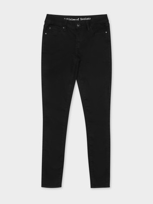 Articles of Society Sarah Mid Rise Skinny Jeans in Blackout Denim