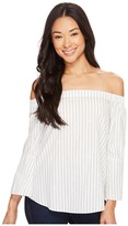 Calvin Klein Jeans Printed Stripe Off Shoulder Top Women's Clothing