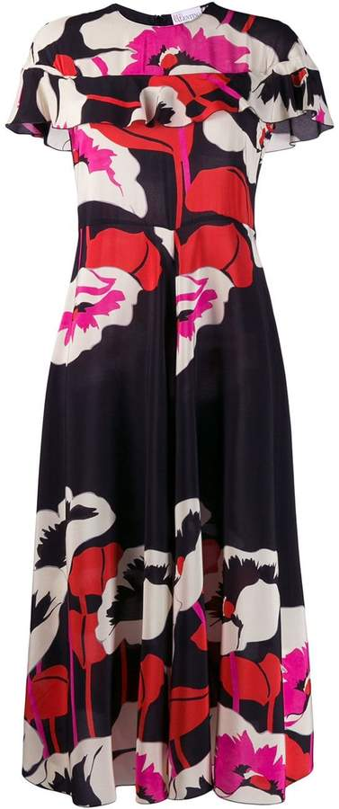 RED Valentino floral silk midi dress