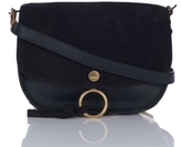 Chloé Kurtis Small Shoulder Bag in Black Suede and Calfskin Leather