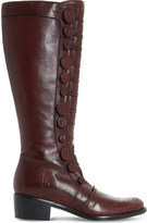 Dune Pixie D button leather knee-high boots