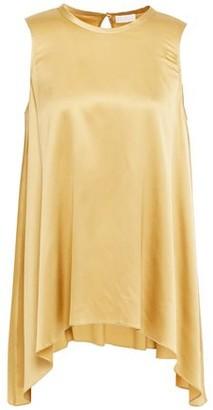 Brunello Cucinelli Asymmetric Bead-embellished Stretch-silk Satin Top