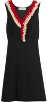 Marni Ruffle-trimmed Silk-crepe Dress - Black