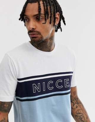 Nicce t-shirt with logo panel in blue