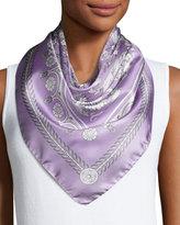 Versace Printed Silk Square Scarf, Lavender/White