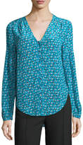 Veronica Beard Roca V-Neck Button-Front Floral-Print Silk Blouse