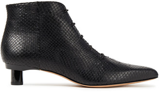 Tibi Snake-effect Leather Ankle Boots