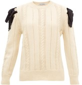 Molly Goddard Blanche Bow-shoulder Cable-knit Wool Sweater - Womens - Cream