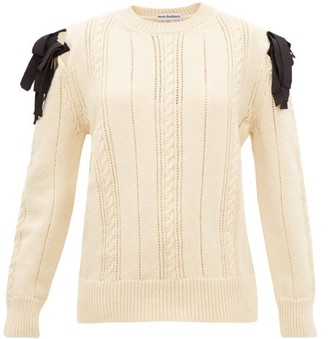Molly Goddard Blanche Bow-shoulder Cable-knitted Wool Sweater - Womens - Cream