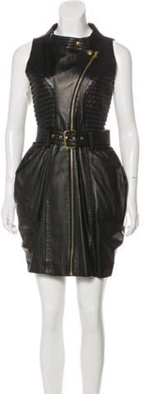 Preen by Thornton Bregazzi Leather Mini Dress Black Leather Mini Dress