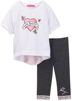 Betsey Johnson Rose Burnout Heart Top & Lace Trim Legging Set (Little Girls)