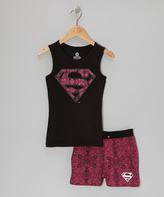 Intimo Supergirl Black & Pink Pajama Set - Girls