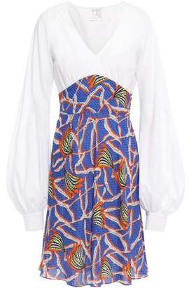 Stella Jean Cotton Poplin-paneled Printed Crepe De Chine Mini Dress