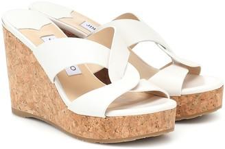 Jimmy Choo Atia 100 leather wedge sandals