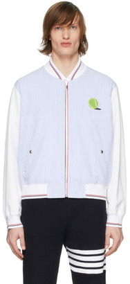 Thom Browne Blue and White Seersucker Ball Patch Bomber Jacket