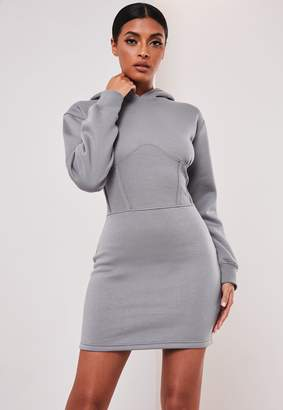 Missguided Sofia Richie X Grey Corset Hooded Sweater Dress