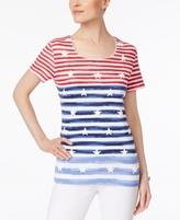 Karen Scott Petite Stars & Stripes Top, Created for Macy's