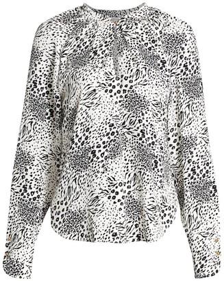 Joie Shauna Print Keyhole Shirt