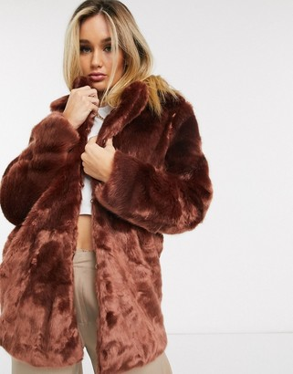 Ivyrevel soft faux fur coat in burgundy