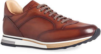 Dunhill Men's Duke Patina Burnished Leather Runner Sneakers