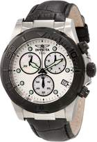 Invicta Men's 1720 Pro Diver Chronograph Mother-Of-Pearl Dial Black Leather Watch