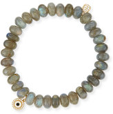 Sydney Evan 8mm Labradorite Bead Bracelet w/14K Gold Diamond Disc Charm