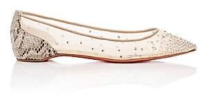Christian Louboutin Women's Follies Strass Mesh & Glitter Flats - Version Light Silk