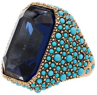 Kenneth Jay Lane Gold-Tone Crystal-Embellished Cocktail Ring