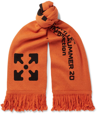 Off-White Logo-Jacquard Knitted Scarf